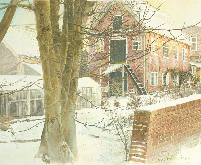 Paul Christiaan Bos Wintertuin Aquarel